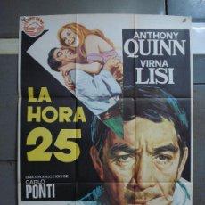 Cine: CDO 454 LA HORA 25 ANTHONY QUINN VIRNA LISI POSTER ORIGINAL 70X100 ESPAÑOL R-75. Lote 195308580