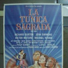 Cine: CDO 460 LA TUNICA SAGRADA RICHARD BURTON JEAN SIMMONS POSTER ORIGINAL 70X100 ESPAÑOL. Lote 195311223