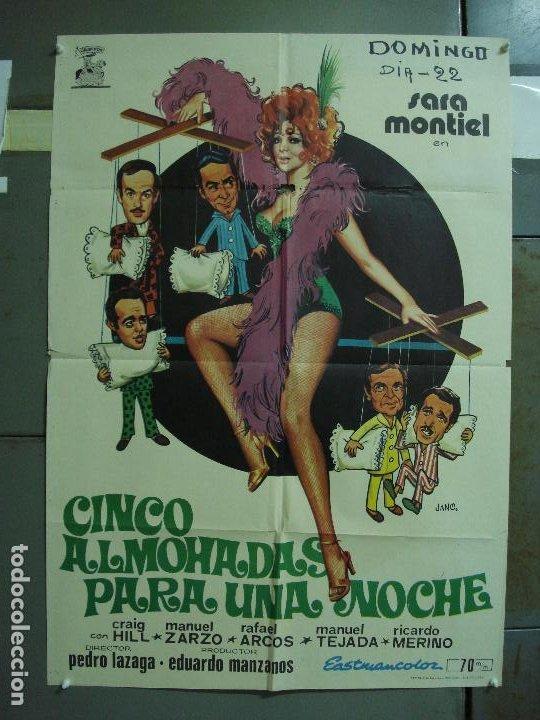 CDO 477 CINCO ALMOHADAS PARA UNA NOCHE SARA MONTIEL JANO POSTER ORIGINAL 70X100 ESTRENO (Cine - Posters y Carteles - Clasico Español)