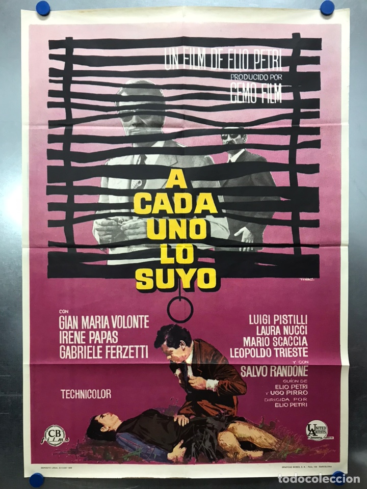 A CADA UNO LO SUYO - GIAN MARIA VOLONTE, IRENE PAPAS - AÑO 1968 (Cine- Posters y Carteles - Drama)