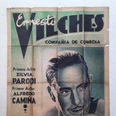 Cine: CARTEL ERNESTO VILCHES SILVIA PARODI ALFREDO CAMIÑA 1937 LAS CINCO ADVERTENCIAS DE SATANÁS TEATRO . Lote 195399991