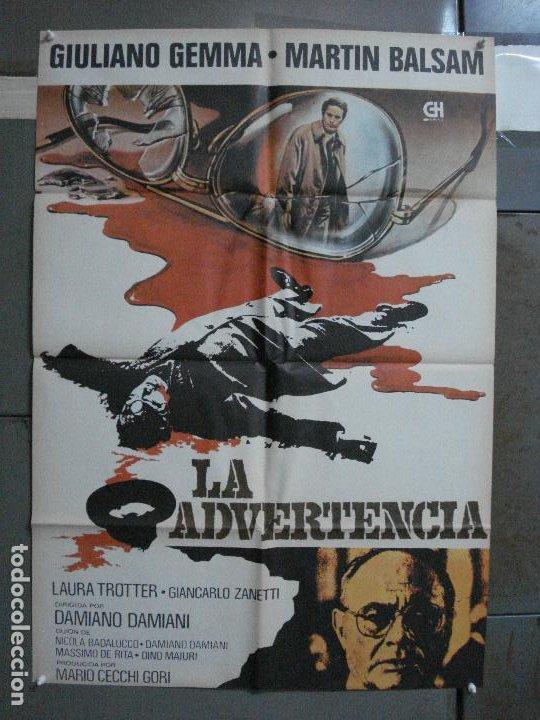 CDO 499 LA ADVERTENCIA GIULIANO GEMMA MARTIN BALSAM POSTER ORIGINAL 70X100 ESTRENO (Cine - Posters y Carteles - Suspense)