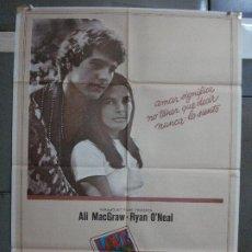 Cine: CDO 521 LOVE STORY RYAN O'NEAL ALI MACGRAW POSTER ORIGINAL 70X100 ESTRENO. Lote 195501735