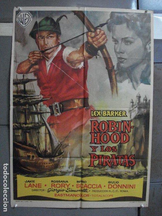 AAF23 ROBIN HOOD Y LOS PIRATAS LEX BARKER POSTER ORIGINAL 70X100 ESTRENO (Cine - Posters y Carteles - Aventura)