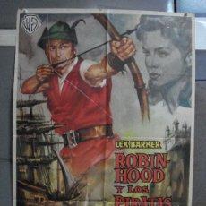 Cine: AAF23 ROBIN HOOD Y LOS PIRATAS LEX BARKER POSTER ORIGINAL 70X100 ESTRENO. Lote 196097601