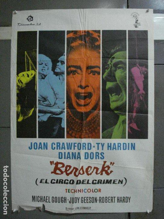 CDO 581 EL CIRCO DEL CRIMEN BERSERK JOAN CRAWFORD DIANA DORS POSTER ORIGINAL ESTRENO 70X100 (Cine - Posters y Carteles - Terror)