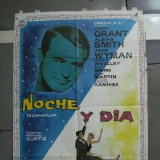 Cine: CDO 585 NOCHE Y DIA CARY GRANT ALBERICIO POSTER ORIGINAL 70X100 ESPAÑOL R-67. Lote 196212831