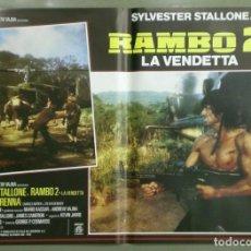 Cine: UD84D RAMBO SYLVESTER STALLONE EL ACORRALADO 2ª PARTE SET 8 POSTERS ORIGINALES ITALIANOS 47X68. Lote 196372436