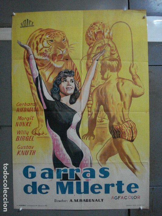 CDO 660 GARRAS DE MUERTE MARGIT NUNKE POSTER ORIGINAL 70X100 ESTRENO LITOGRAFIA (Cine - Posters y Carteles - Suspense)