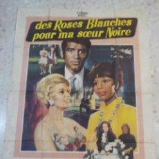 Cine: ANTIGUO CARTEL DE CINE FRANCES.DES ROSES BLANCHES POUR MA SOEUR NOIRE.GRAN TAMAÑO.. Lote 197098452