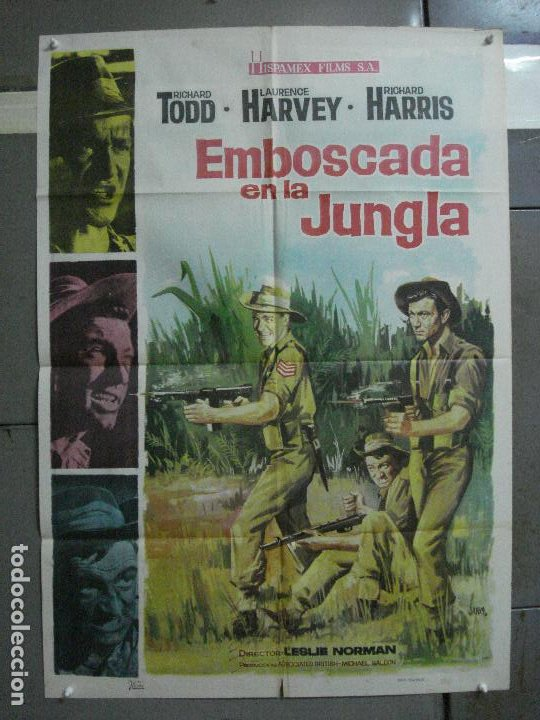 CDO 699 EMBOSCADA EN LA JUNGLA RICHARD TODD LAURENCE HARVEY HARRIS POSTER ORIGINAL 70X100 ESTRENO (Cine - Posters y Carteles - Bélicas)