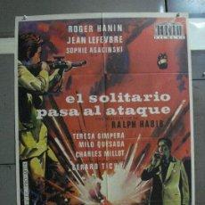 Cine: CDO 878 EL SOLITARIO PASA AL ATAQUE ROGER HANIN POSTER ORIGINAL 70X100 ESTRENO. Lote 198193335