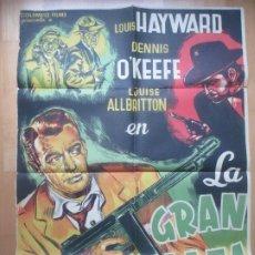 Cine: CARTEL CINE LA GRAN AMENAZA LOUIS HAYWARD DENNIS O´KEEFE BOSQUED 53 LITOGRAFIA C1759. Lote 198985482