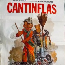 Cine: CARTEL DE CINE CON AUTOGRAFO DE MARIO MORENO CANTINFLAS EL BARREDERO. Lote 199303776