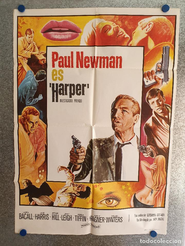 HARPER, INVESTIGADOR PRIVADO. PAUL NEWMAN, LAUREN BACALL, JULIE HARRIS AÑO 1976. POSTER ORIGINAL (Cine - Posters y Carteles - Acción)