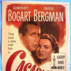 Cine: CARTEL POSTER RETRO PELICULA DE CINE - CASABLANCA - HUMPHREY BOGART INGRID BERGMAN.. Lote 199713311