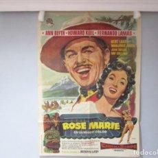 Cine: CARTEL POSTER 99X70CM - ROSE MARIE - AND BLYTH, ORIGINAL EPOCA, FLORALVA + INFO. Lote 199920872