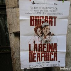 Cine: CARTEL POSTER PELICULA ' LA REINA DE AFRICA ' 1980 70X100CM, BOGART HEPBURN + INF. Lote 200175725