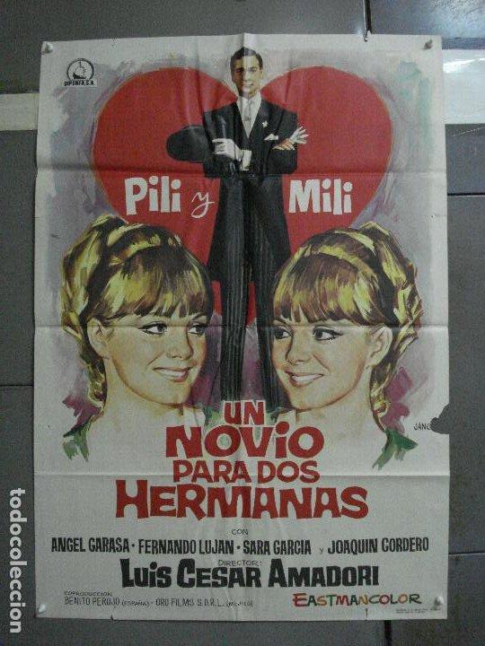 CDO 1462 UN NOVIO PARA DOS HERMANAS PILI Y MILI LUIS CESAR AMADORI JANO POSTER ORIG 70X100 ESTRENO (Cine - Posters y Carteles - Clasico Español)