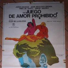 Cine: CARTEL DE LA PELÍCULA EN JUEGO DE AMOR PROHIBIDO. 100 X 70 CM . Lote 201237460