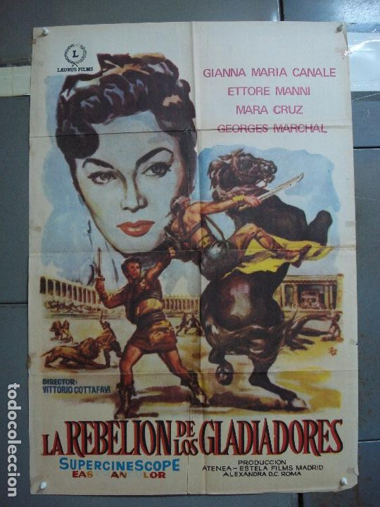 CDO 1690 LA REBELION DE LOS GLADIADORES GIANNA MARIA CANALE MARA CRUZ PEPLUM POSTER 70X100 ESPAÑOL (Cine - Posters y Carteles - Aventura)