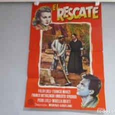 Cine: POSTER 99X70CM - EL RESCATE - FOLCO LULLI, FRANZA MARZI, ORIGINAL, FORTUNA FILMS, A. PERIS + INFO. Lote 202031450