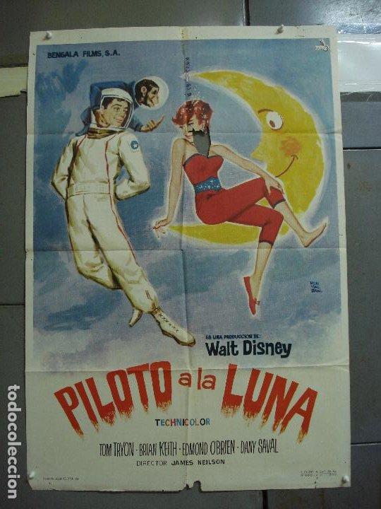 CDO 1766 PILOTO A LA LUNA WALT DISNEY TOM TRYON DANY SAVAL POSTER ORIGINAL 70X100 ESTRENO (Cine - Posters y Carteles - Ciencia Ficción)