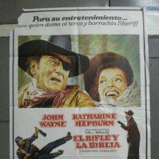 Cine: CDO 1787 EL RIFLE Y LA BIBLIA JOHN WAYNE KATHARINE HEPBURN POSTER ORIGINAL 70X100 ESTRENO. Lote 202340762