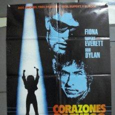 Cine: CDO 2072 CORAZONES DE FUEGO BOB DYLAN POSTER ORIGINAL 70X100 ESTRENO. Lote 203245152
