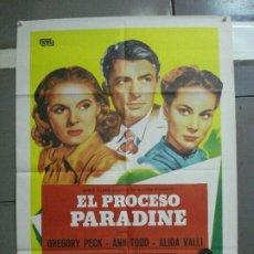 Cine: CDO 2091 EL PROCESO PARADINE ALFRED HITCHCOCK GREGORY PECK ALIDA VALLI POSTER ORG 70X100 ESPAÑOL R82. Lote 203248908