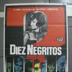 Cine: CDO 2097 DIEZ NEGRITOS SHIRLEY EATON AGATHA CHRISTIE POSTER ORIGINAL 70X100 ESPAÑOL R-82. Lote 203250185