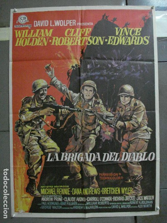 Cine: CDO 2184 LA BRIGADA DEL DIABLO WILLIAM HOLDEN MAC POSTER ORIGINAL 70X100 ESTRENO - Foto 1 - 203785703