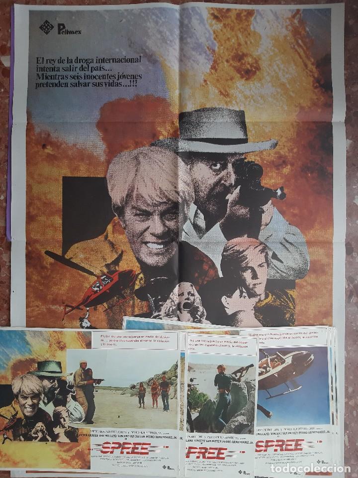 CARTEL + 8 FOTOCROMOS SPREE 1981 PETER GRAVES RAY MILLAND DIRECTOR LARRY SPIEGEL (Cine - Posters y Carteles - Acción)