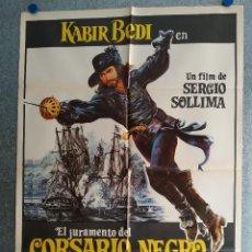 Cinema: EL JURAMENTO DEL CORSARIO NEGRO. KABIR BEDI, CAROLE ANDRÉ, MEL FERRER AÑO 1976. POSTER ORIGINAL. Lote 203810272