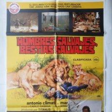 Cine: ANTIGUO CARTEL CINE HOMBRES SALVAJES BESTIAS SALVAJES CLASIFLICADA S + 12 FOTOCROMOS 1978 JANO CC139. Lote 203821586