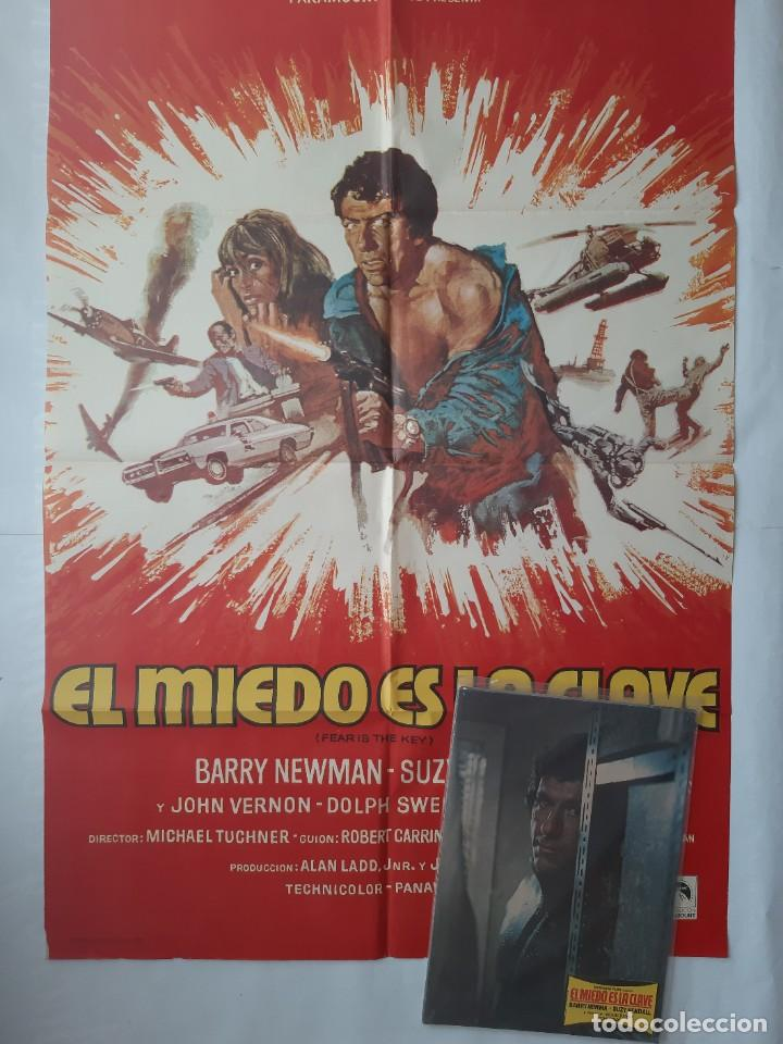 ANTIGUO CARTEL CINE EL MIEDO ES LA CLAVE + 12 FOTOCROMOS 1973 CC154 (Cine - Posters y Carteles - Acción)