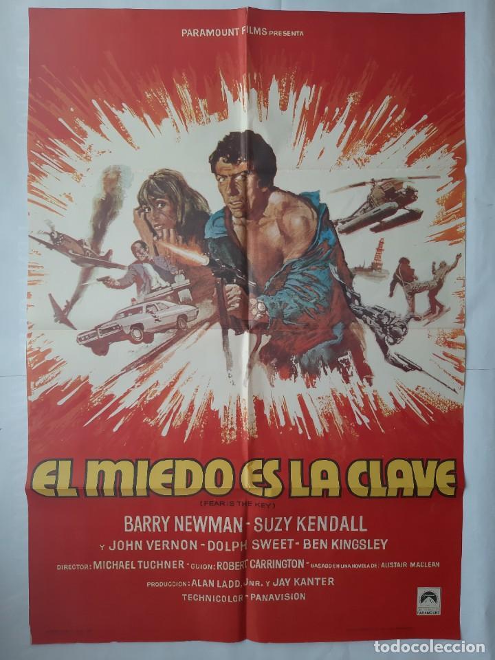 Cine: ANTIGUO CARTEL CINE EL MIEDO ES LA CLAVE + 12 FOTOCROMOS 1973 CC154 - Foto 2 - 203851138