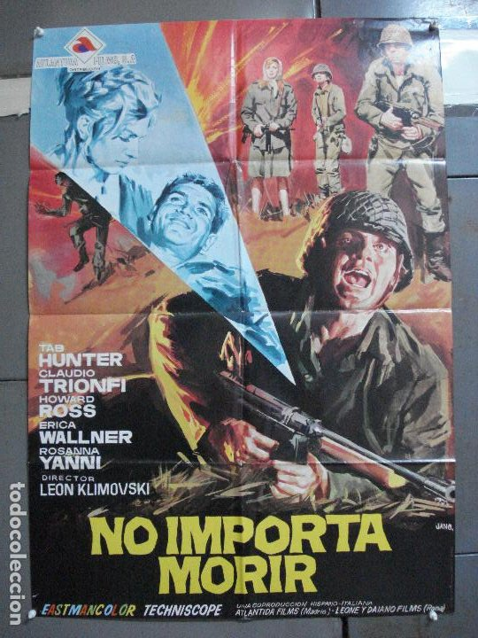 CDO 2294 NO IMPORTA MORIR TAB HUNTER LEON KLIMOVSKY POSTER ORIGINAL 70X100 ESTRENO (Cine - Posters y Carteles - Bélicas)