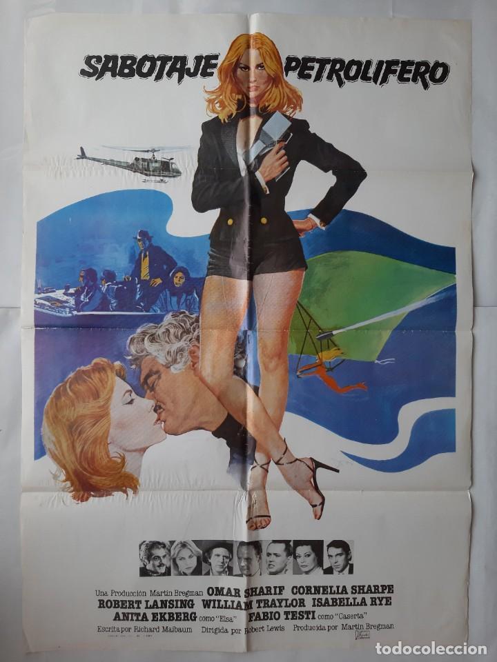 Cine: ANTIGUO CARTEL CINE SABOTAJE PETROLIFERO + 12 FOTOCROMOS 1981 CC163 - Foto 2 - 204001235