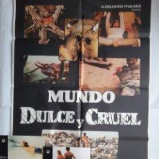 Cine: ANTIGUO CARTEL CINE MUNDO DULCE Y CRUEL + 12 FOTOCROMOS 1983 CC164. Lote 204001577