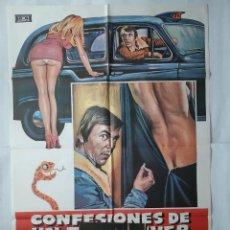 Cine: ANTIGUO CARTEL CINE CONFESIONES DE UN TAXI DRIVER + 12 FOTOCROMOS 1977 MAD CC167. Lote 204002037