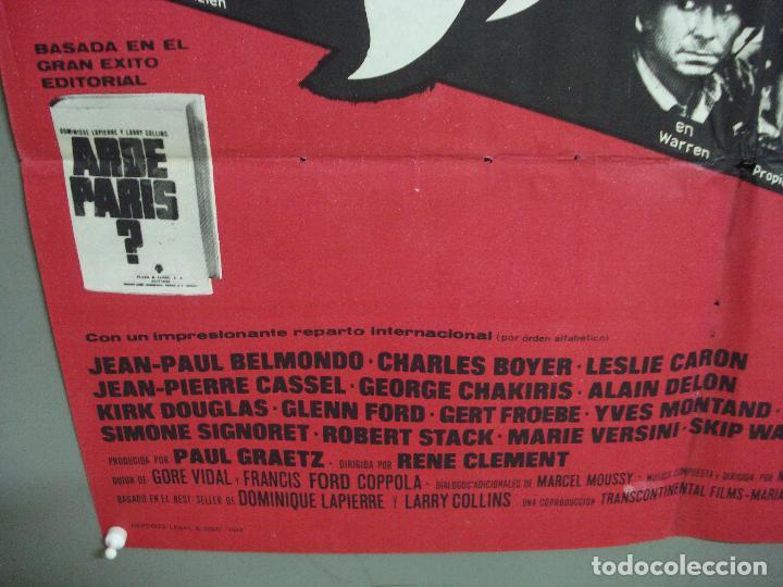 Cine: CDO 2325 ARDE PARIS BELMONDO DELON DOUGLAS POSTER ORIGINAL 70X100 ESTRENO - Foto 5 - 204054355
