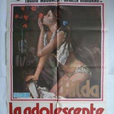 Cine: ANTIGUO CARTEL CINE HILDA LA ADOLESCENTE + 8 FOTOCROMOS 1979 CC177. Lote 204100462