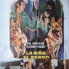 Cine: ANTIGUO CARTEL CINE LA NIÑA EL PERRO Y EL PATO + 10 FOTOCROMOS 1977 CC186. Lote 204100852