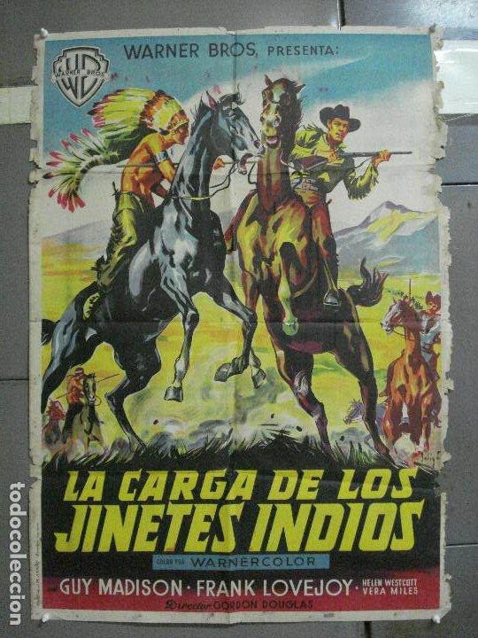AAH36 LA CARGA DE LOS JINETES INDIOS SOLIGO GUY MADISON MILES POSTER ORIG 70X100 ESTRENO LITOGRAFIA (Cine - Posters y Carteles - Westerns)