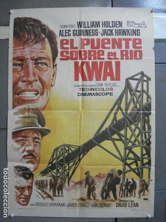 AAH45 EL PUENTE SOBRE EL RIO KWAI DAVID LEAN ALEC GUINNESS WILLIAM HOLDEN JANO POSTER ORG 70X100 R71 (Cine - Posters y Carteles - Bélicas)