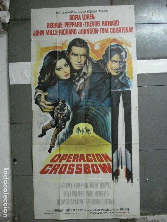 CDO 2367 OPERACION CROSSBOW GEORGE PEPPARD SOFIA /SOPHIA LOREN POSTER ORIG 3 HOJAS 100X205 ESTRENO (Cine - Posters y Carteles - Bélicas)