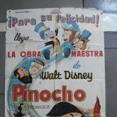 Cine: AAH76 PINOCHO PINOCCHIO WALT DISNEY POSTER ORIGINAL 70X100 ESPAÑOL R-63. Lote 204660441