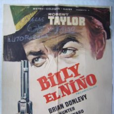 Cine: BILLY EL NIÑO, CON ROBERT TAYLOR. POSTER 69 X 99 CMS. 1963. DIB. JANO.. Lote 204676750