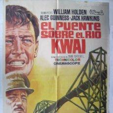 Cine: EL PUENTE SOBRE EL RIO KWAI, CON WILLIAM HOLDEN. POSTER 69 X 98 CMS. 1971. DIB. JANO.. Lote 204728403